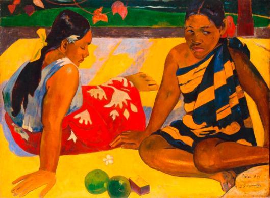Paul Gauguin  Parau api, 1892  Quelles nouvelles? Was gibt's Neues? Öl auf Leinwand, 67 x 91 cm  Staatliche Kunstsammlungen Dresden, Galerie Neue Meister  Foto: Jürgen Karpinski