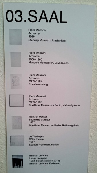Objektbeschriftung in der ZERO-Ausstellung