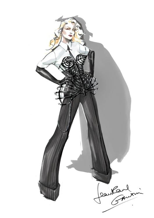 Jean Paul Gaultier Skizze des Bühnenkostüms für die MDNA World Tour, 2012 von Madonna. Lacklederkorsett mit »3D-Effekt« © Jean Paul Gaultier